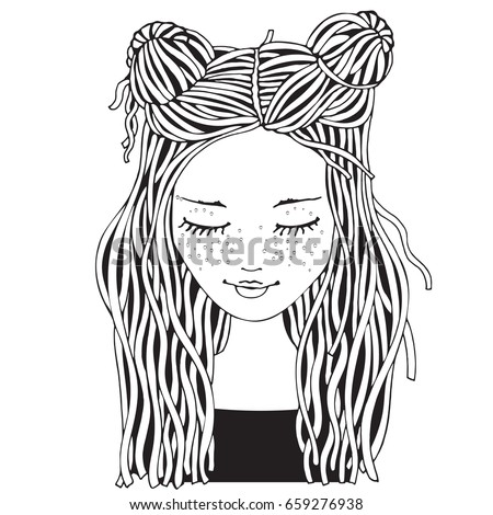 Cute Girl Coloring Book Page Adult Stock Vector 659276938