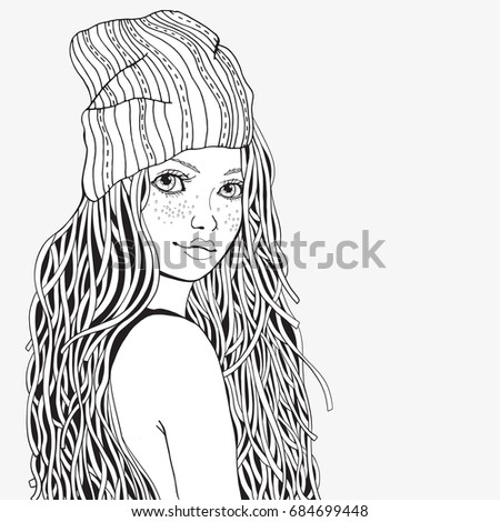 Cute Girl Coloring Book Page Adult Stock Vector 684699448 - Shutterstock