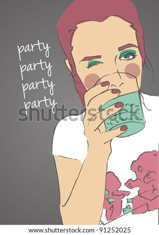 cute girl drank alcohol at a party