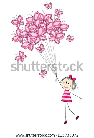 Cute girl flying with butterflies - stock vector