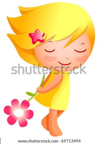 cute girl holding flower - stock vector