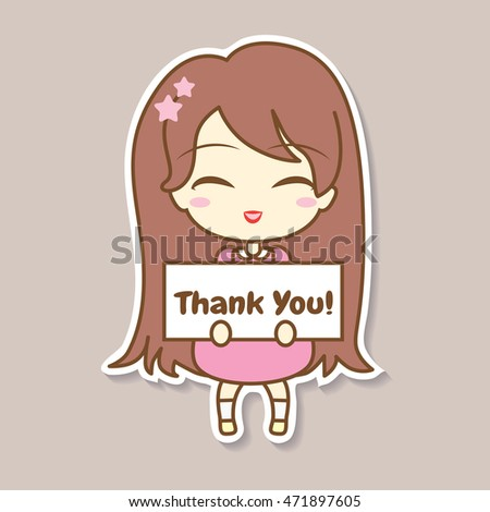 Cute girl holding frame with text on beige background vector illustration sticker design