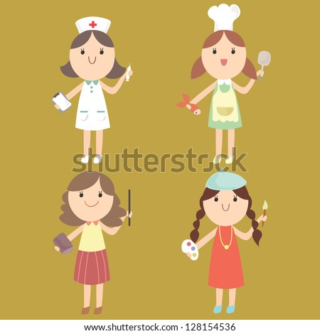 Cute girl in a variety of jobs (nurse, chef, teacher, artist) Cartoon vector illustration - stock vector