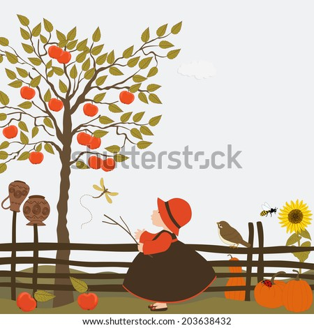 Cute girl in the orchard with apple trees - stock vector