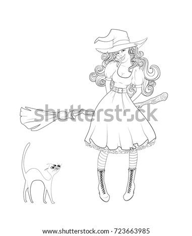 Cute Girl In Witch Costume With A Broom And Cat Next To Her Outlined Coloring