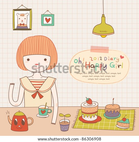 Cute Girl is having a tea time party. Lovely Diary. Girlish Design. - stock vector