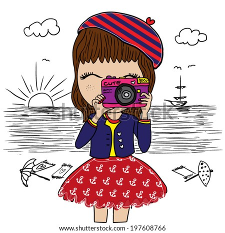 cute girl / marine-themed illustration girl / graphic design on summer vacation / a happy girl taking photos / T-shirt graphics / textile graphic  - stock vector