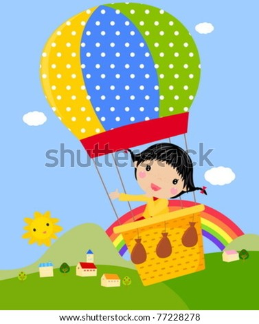 Cute girl Playing with a Hot Air Balloon - stock vector