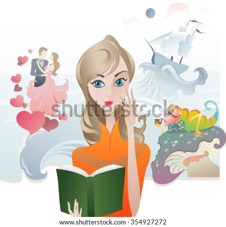 Cute Girl reading a Book. The vector illustration of the Girl with the Book. Book Cover. Reading Literature - stock vector