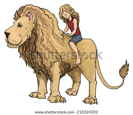Cute girl riding a huge Lion king, vector illustration - stock vector