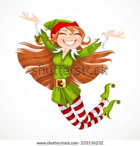 Cute girl Santa elf jump with joy isolated on a white background - stock vector