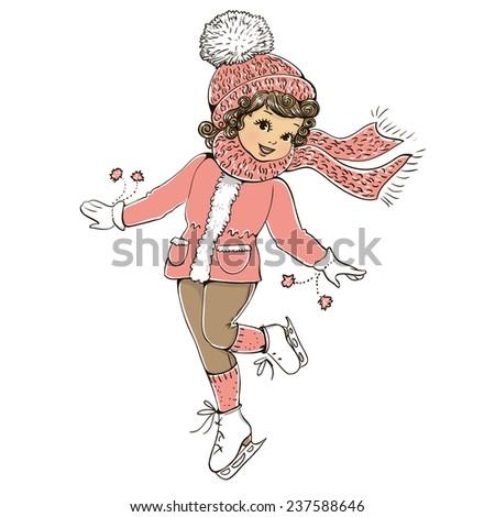 Cute girl skates. Vector illustration. - stock vector