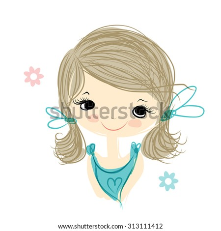 Cute girl smiling, sketch for your design, vector illustration - stock vector