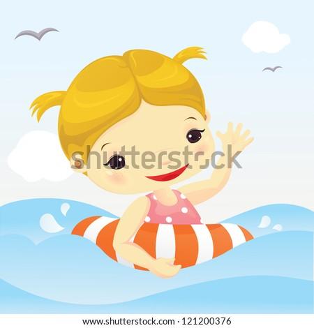 Cute girl swimming - stock vector