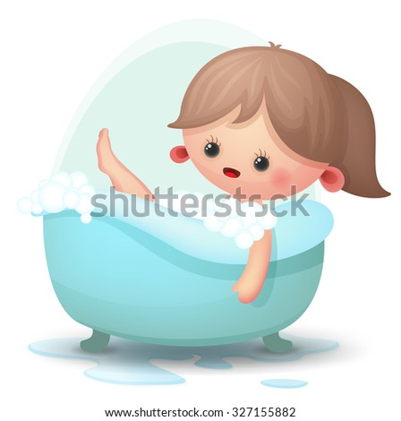 Cute girl taking a bubble bath - stock vector