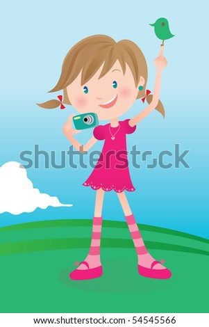 Cute girl taking a picture, saying SMILE! - stock vector