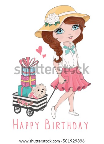 cute girl vector/T-shirt print/Book illustrations for children/Romantic hand drawing poster/cartoon character/For apparel or other uses,in vector/happy birthday to you/dog vector