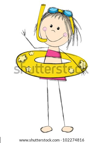 Cute girl wearing a swimsuit - stock vector