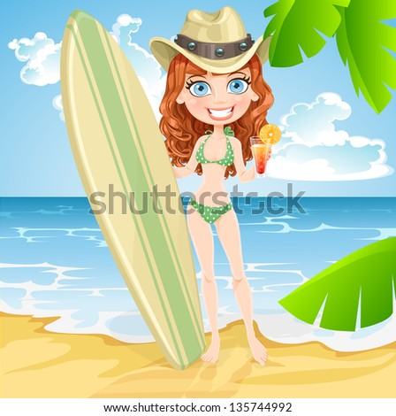 Cute girl with a glass of juice and a surfboard on a sunny beach - stock vector