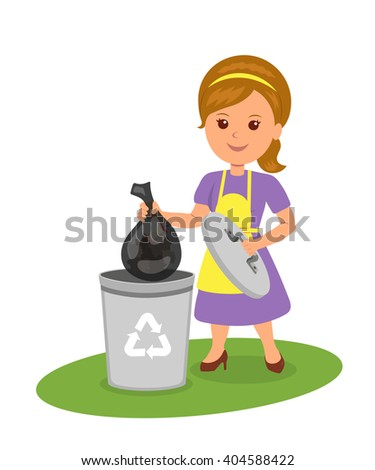 Cute girl with a trash bag near the garbage container. Isolated vector female characters throw garbage into a trash can. Concept design of recycling and ecology. - stock vector