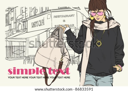Cute girl with bag on a street-cafe background. Vector illustrator. Place for your text.