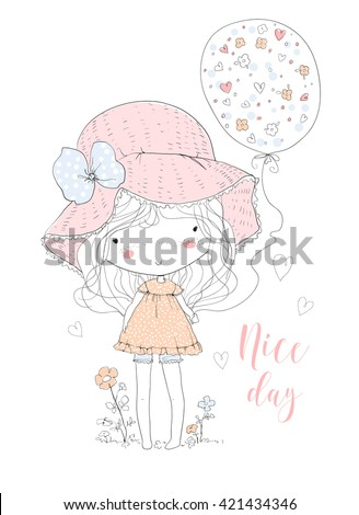 cute girl with balloon