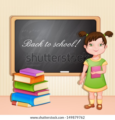 Cute girl with book at the board