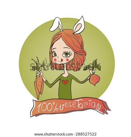 cute girl with bunny ears and vegetables. - stock vector