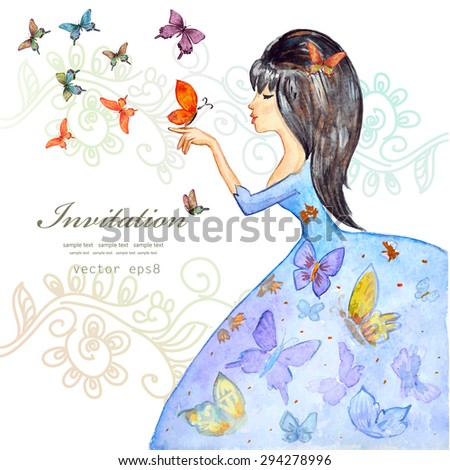 cute girl with butterflies. watercolor painting. vector illustration - stock vector