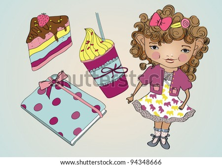Cute girl with cake, diary and coffee