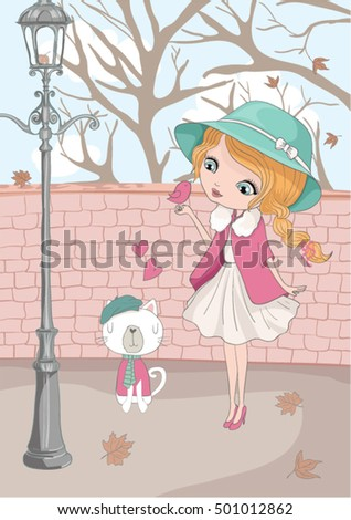 Cute girl with cat/cute cat illustration for apparel/Book illustrations for children/T-shirt Graphic/Girl with flowers/Romantic hand drawing poster/cartoon character/children art/post card
