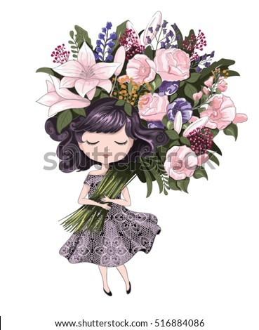Cute girl with flowers.Children illustration for School books and more.T-shirt graphic.cartoon character.vintage postcard.