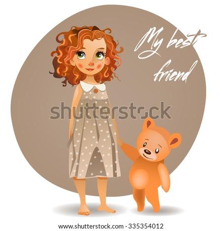 cute girl with teddy bear