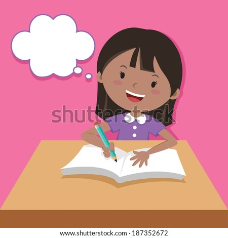 Cute girl writing and thinking. Vector illustration of a little girl writing at his desk. - stock vector