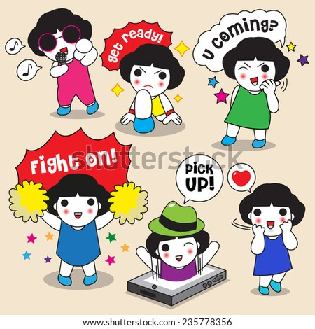 Cute Girls' Expression character illustration set - stock vector