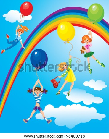 cute girls flying away on balloons on sky background with rainbow