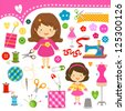 cute girls having fun sewing - stock vector