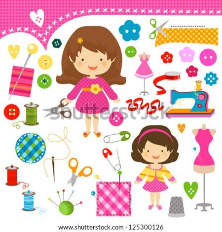 cute girls having fun sewing - stock vector