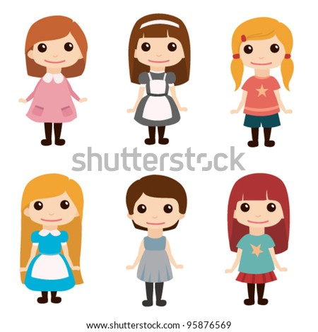 Cute girls set - stock vector