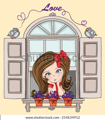cute girls with birds / Illustration of a Cute Girl Dressed as a Princess  / cute baby kid / cute girl illustration / romantic girl waiting at the window / T-shirt Graphics / book illustration - stock vector