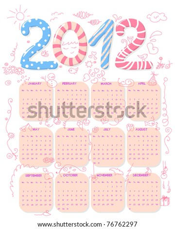 Cute, girly 2012 calendar with doodles. Week starts on Monday - stock vector
