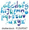 Cute glossy blue water alphabet , vector, EPS10 - stock photo
