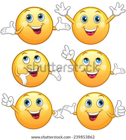 Cute glossy, cheerful emoticons. - stock vector