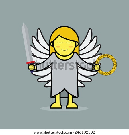 Cute goddess of victory in greek mythology. - stock vector