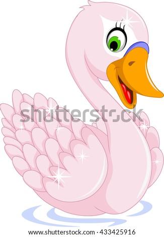 cute goose cartoon posing - stock vector