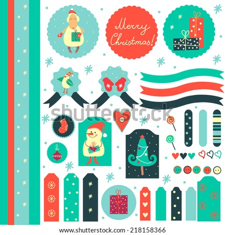 Cute graphic Christmas scrapbook elements in retro style with sheep, snowman, tree, mittens and bird. Sweet sticker collection. Christmas decorations. - stock vector