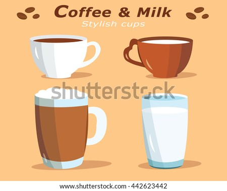 Cute graphic cups with coffee and glass with milk. Flat style vector set. - stock vector