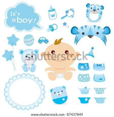 Cute Graphic for Baby Boy - stock vector