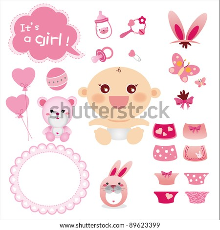 Cute Graphic for Baby Girl - stock vector