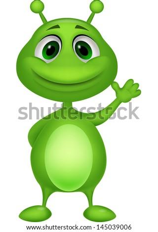 Cute green alien cartoon - stock vector